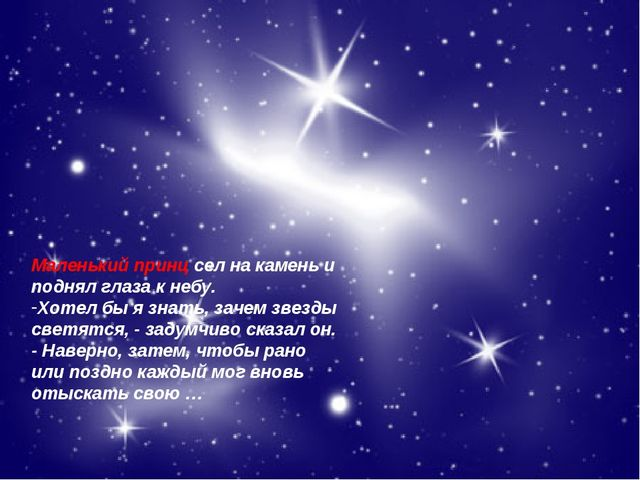 * Агафонова Е.Е. Маленький принц сел на камень и поднял глаза к небу. Хотел б...