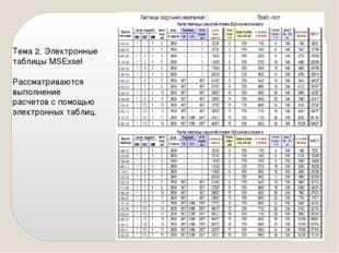 Тема 2. Электронные таблицы MSExsel Рассматриваются выполнение расчетов с пом