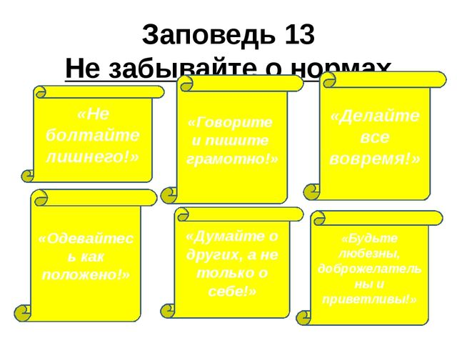 Заповедь 13 Не забывайте о нормах этикета «Говорите и пишите грамотно!» «Дела...