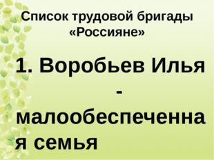 Список трудовой бригады «Россияне» 1. Воробьев Илья - малообеспеченная семья