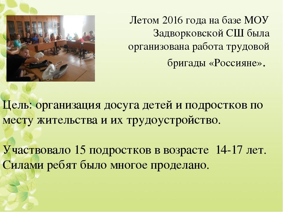 Цель: организация досуга детей и подростков по месту жительства и их трудоус...