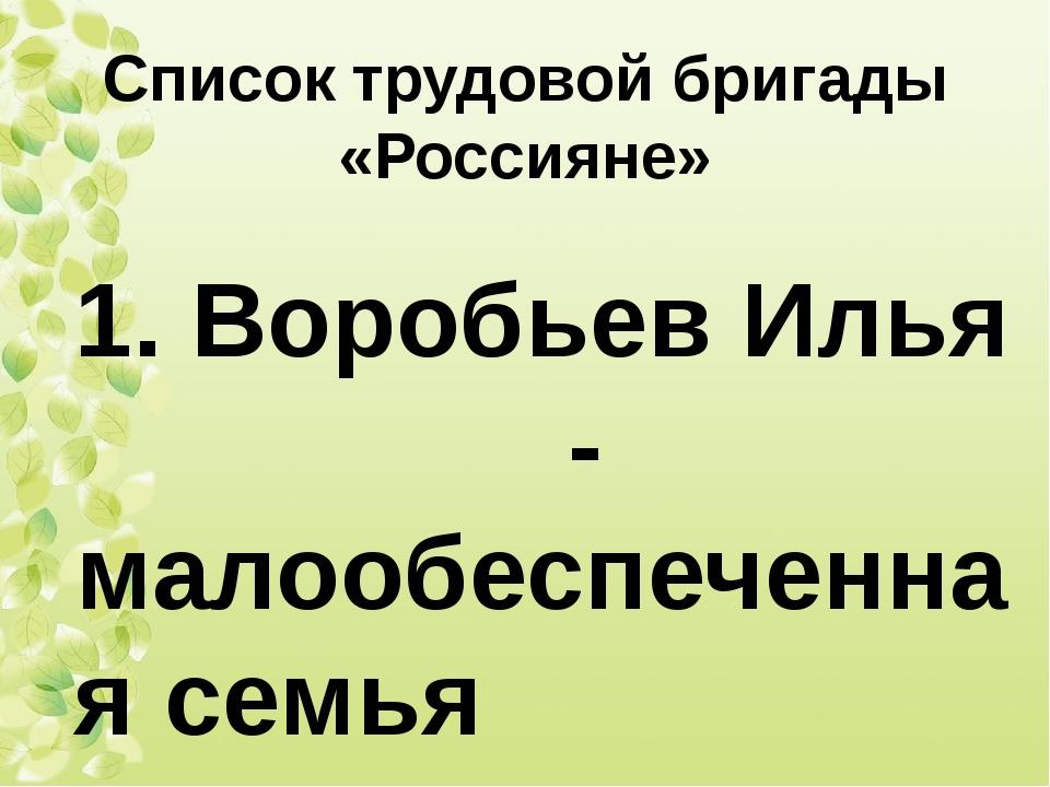 Список трудовой бригады «Россияне» 1. Воробьев Илья - малообеспеченная семья...