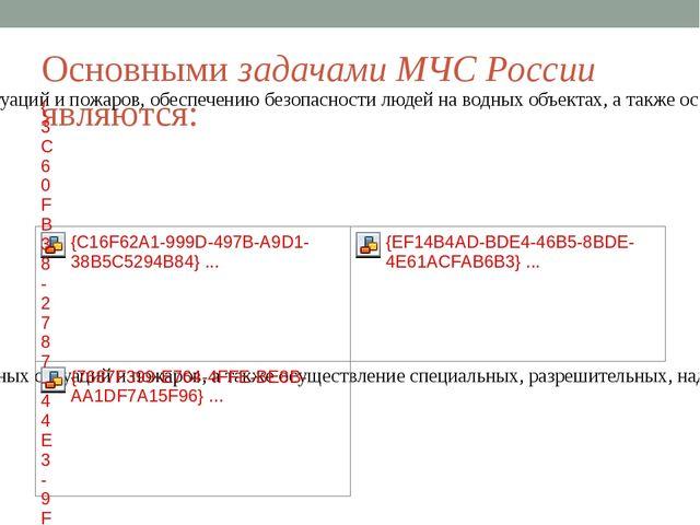 Основными задачами МЧС России являются: