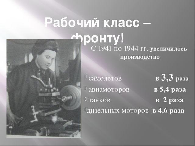 Рабочий класс – фронту! С 1941 по 1944 гг. увеличилось производство самолетов...