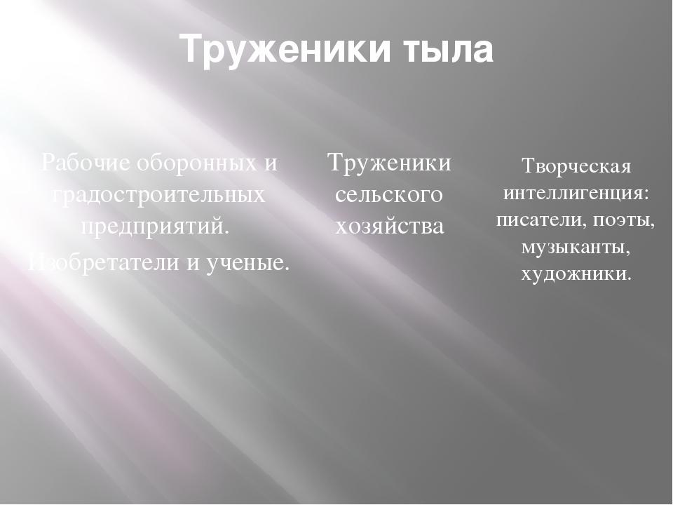 Труженики тыла Рабочие оборонных и градостроительных предприятий. Изобретател...