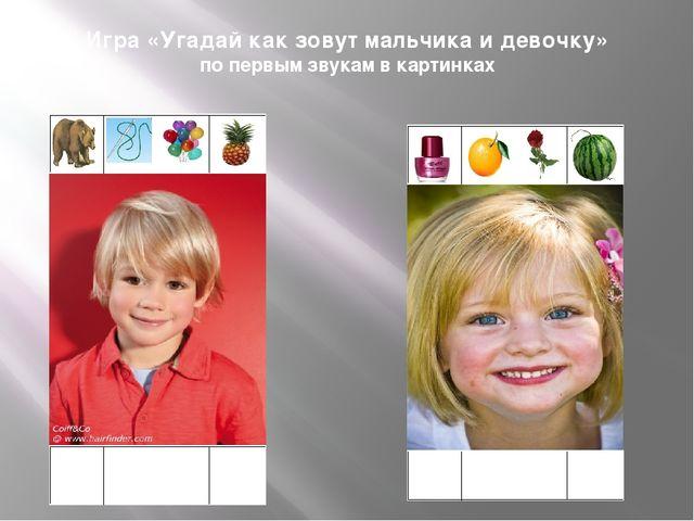 Игра «Угадай как зовут мальчика и девочку» по первым звукам в картинках м И ш А