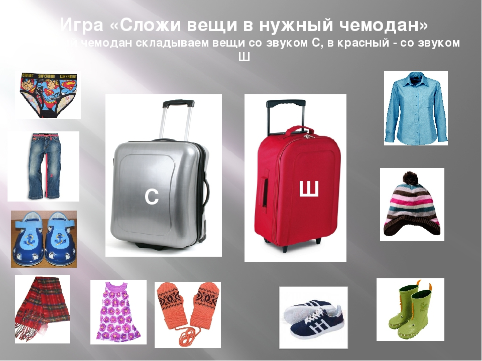 Игра «Сложи вещи в нужный чемодан» В серый чемодан складываем вещи со звуком...