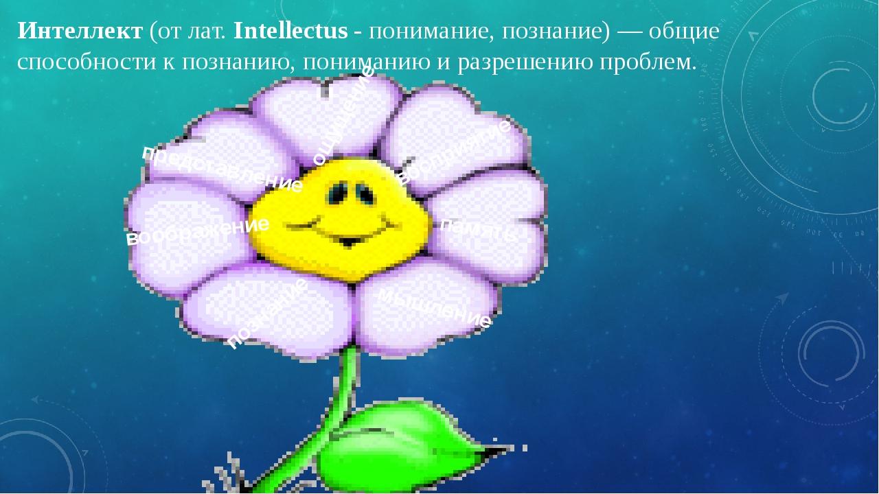 Интеллект(от лат.Intellectus-понимание, познание) — общие способности к п...