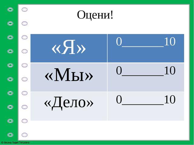 Оцени! «Я» 0_______10 «Мы» 0_______10 «Дело» 0_______10 © Фокина Лидия Петровна