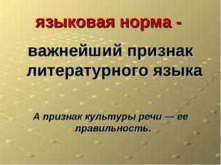 языковая норма - важнейший признак литературного языка А признак культуры реч
