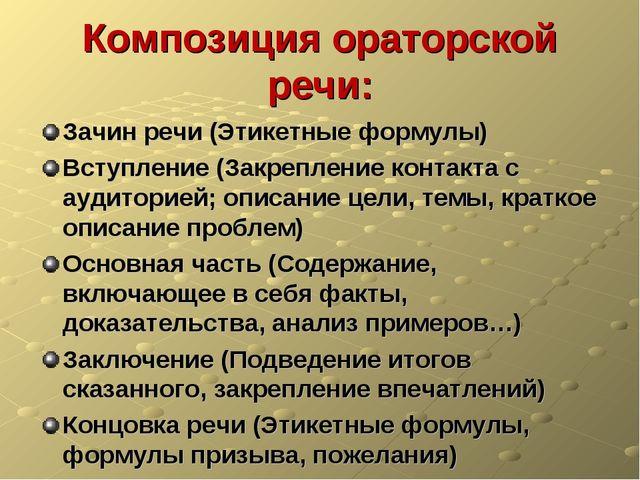 Композиция ораторской речи: Зачин речи (Этикетные формулы) Вступление (Закре...