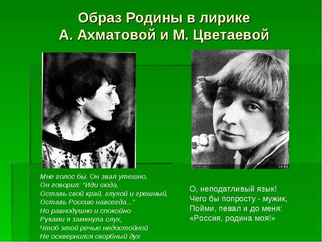Образ Родины в лирике А. Ахматовой и М. Цветаевой О, неподатливый язык! Чего...