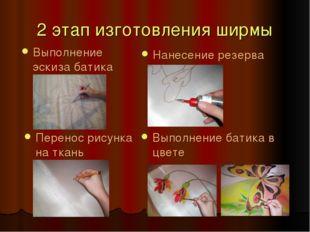 2 этап изготовления ширмы Выполнение эскиза батика Нанесение резерва Перенос
