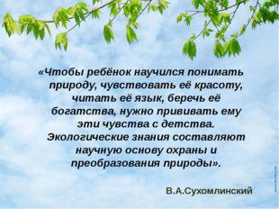 «Чтобы ребёнок научился понимать природу, чувствовать её красоту, читать её я