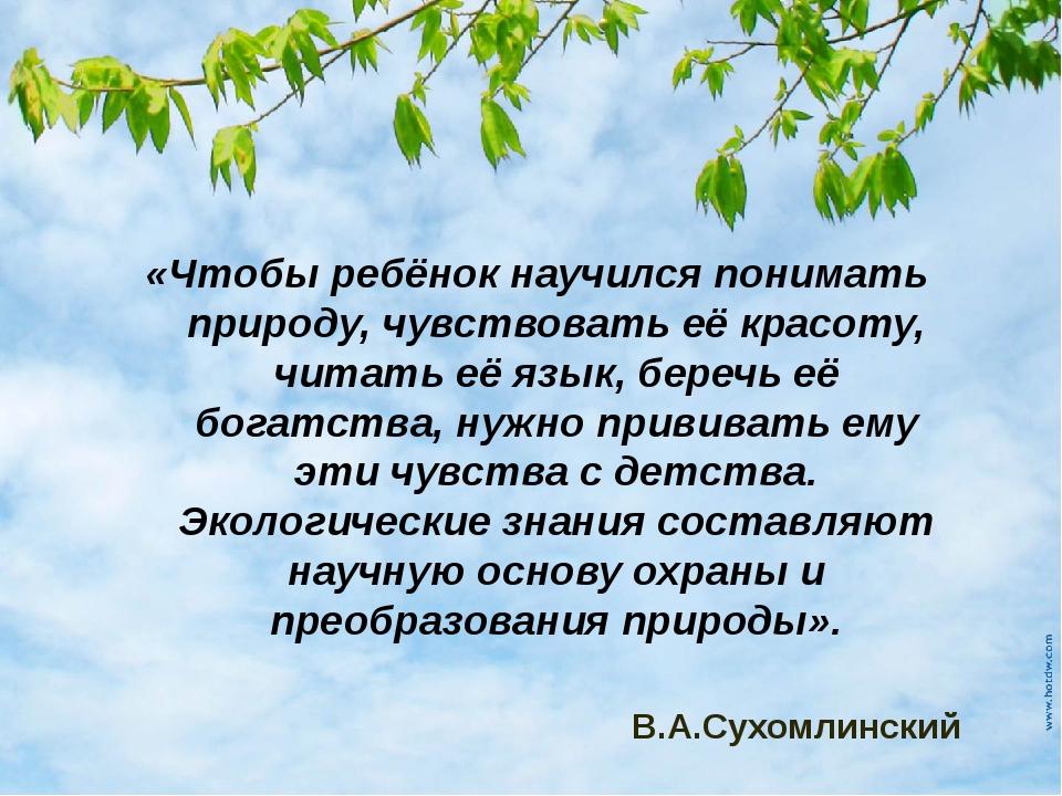 «Чтобы ребёнок научился понимать природу, чувствовать её красоту, читать её я...