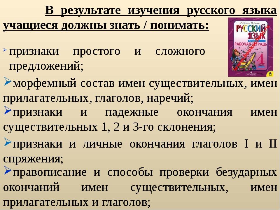 В результате изучения русского языка учащиеся должны знать / понимать: призн...