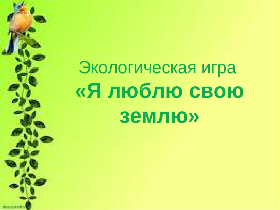Экологическая игра «Я люблю свою землю»