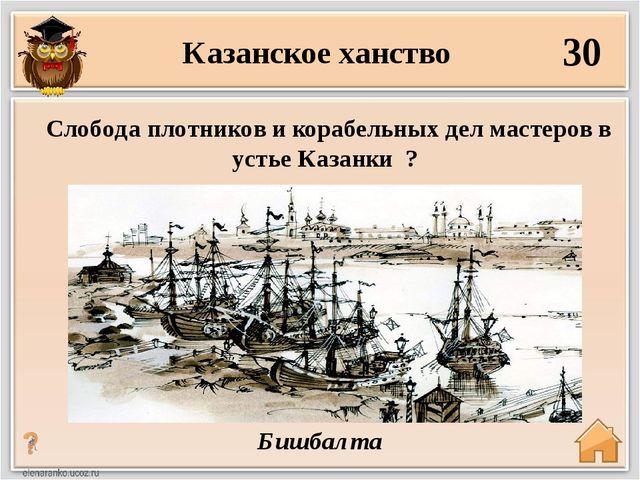 30 Бишбалта Слобода плотников и корабельных дел мастеров в устье Казанки ? Ка...