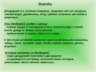 Выводы Дендрарий-это зелёная кладовая, кладовая чистого воздуха, свежей воды,