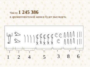 Число 1 245 386 в древнеегипетской записи будет выглядеть 1 2 4 5 3 8 6