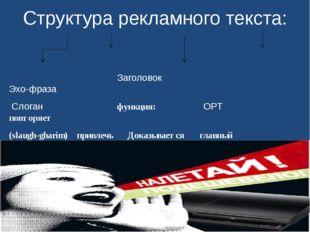 Структура рекламного текста: Заголовок Эхо-фраза Слоган функция: ОРТ повторяе