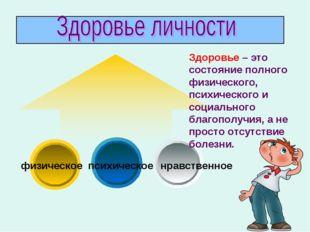 физическое психическое нравственное Здоровье – это состояние полного физичес