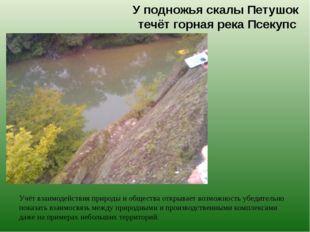 У подножья скалы Петушок течёт горная река Псекупс Учёт взаимодействия природ