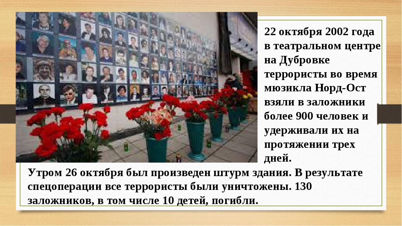 22 октября 2002 года в театральном центре на Дубровке террористы во время мюз...