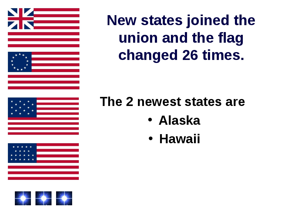 New states joined the union and the flag changed 26 times. The 2 newest state...