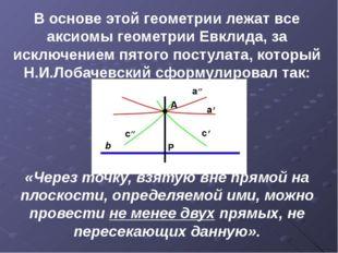 В основе этой геометрии лежат все аксиомы геометрии Евклида, за исключением п