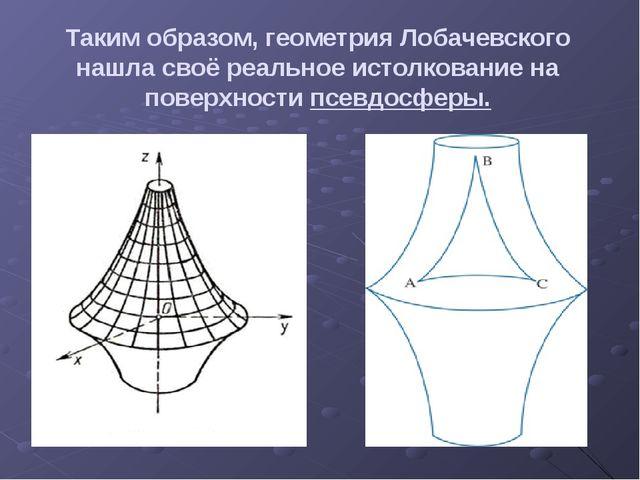 Таким образом, геометрия Лобачевского нашла своё реальное истолкование на пов...