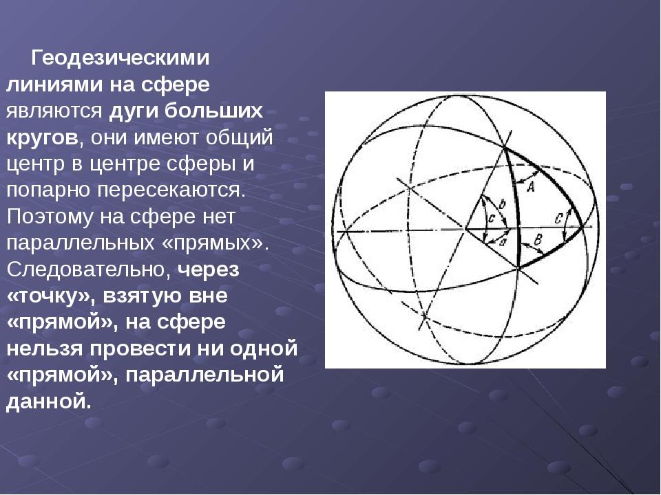 Геодезическими линиями на сфере являются дуги больших кругов, они имеют общи...