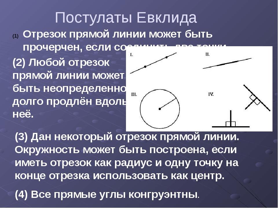 Постулаты Евклида Отрезок прямой линии может быть прочерчен, если соединить д...