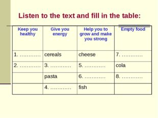 Listen to the text and fill in the table: Keep you healthy	Give you energy	He