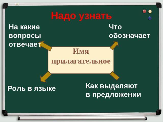 Надо узнать Имя прилагательное Что обозначает Как выделяют в предложении Роль...