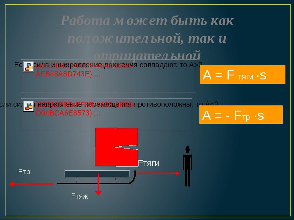 Работа может быть как положительной, так и отрицательной А = - Fтр ·s А = F т...