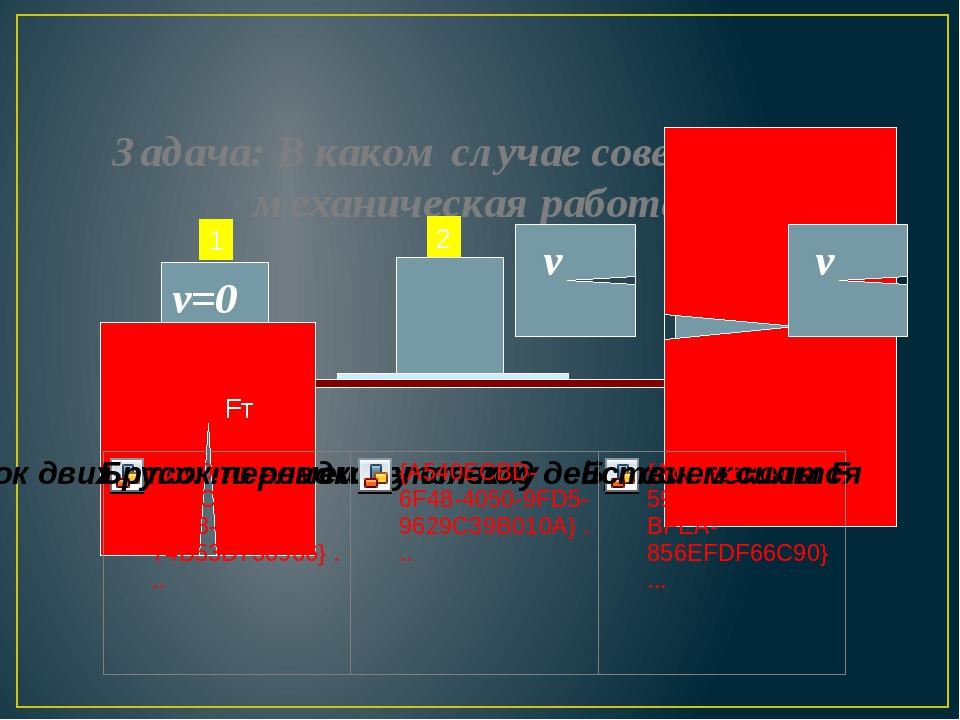 Задача: В каком случае совершается механическая работа? 1 2 3 Fт F v v=0 v