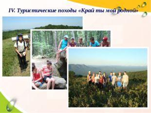 IV. Туристические походы «Край ты мой родной»
