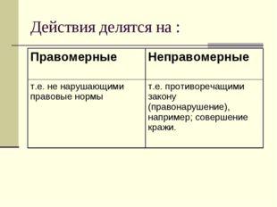 Действия делятся на : ПравомерныеНеправомерные т.е. не нарушающими правовые