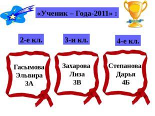 «Ученик – Года-2011» : 2-е кл. 3-и кл. 4-е кл. Гасымова Эльвира 3А Захарова Л