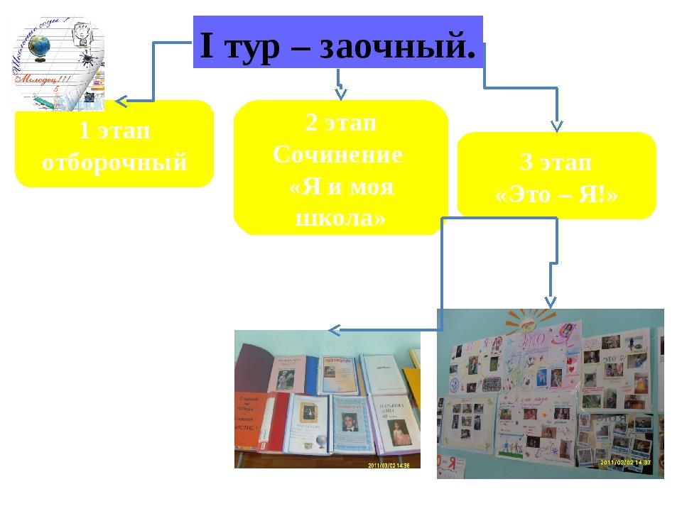 I тур – заочный. 1 этап отборочный 2 этап Сочинение «Я и моя школа» 3 этап «Э...