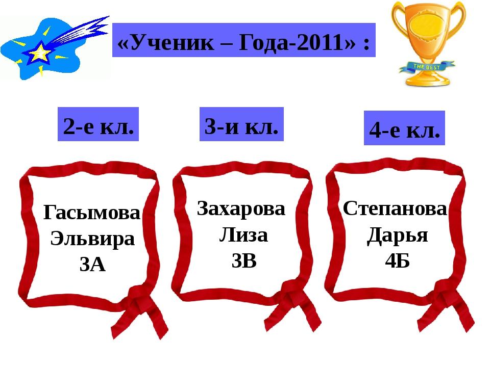 «Ученик – Года-2011» : 2-е кл. 3-и кл. 4-е кл. Гасымова Эльвира 3А Захарова Л...