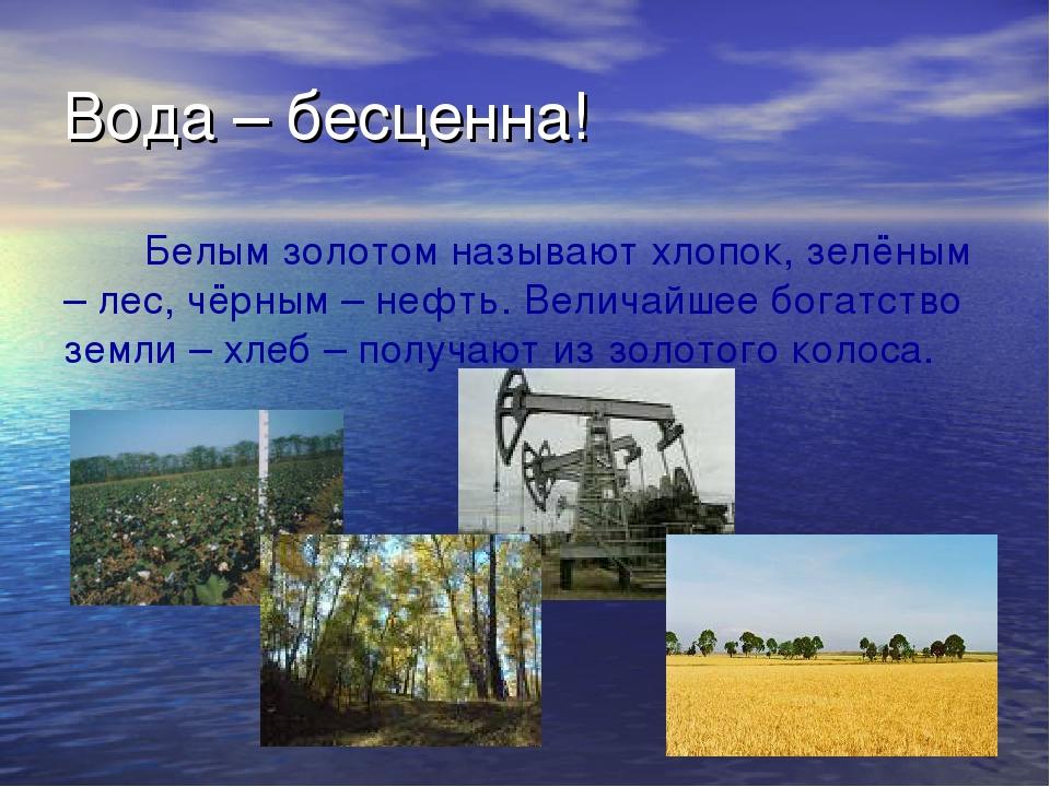 Вода – бесценна! Белым золотом называют хлопок, зелёным – лес, чёрным – нефть...