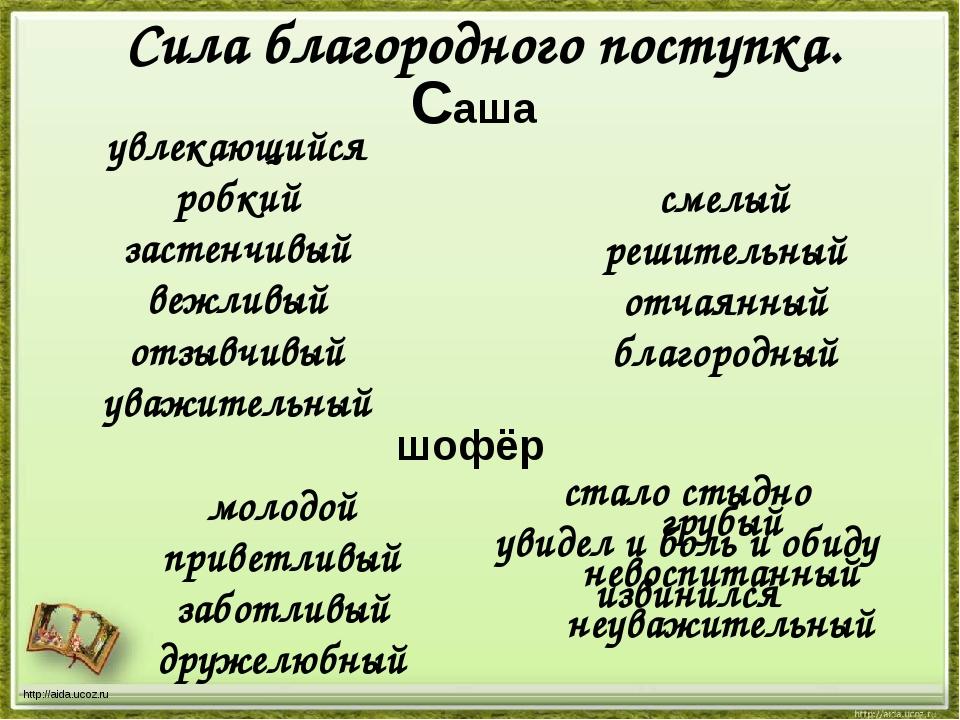 http://aida.ucoz.ru Сила благородного поступка. Саша увлекающийся робкий заст...