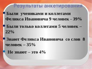 Результаты анкетирования Были учениками и коллегами Феликса Ивановича 9 челов
