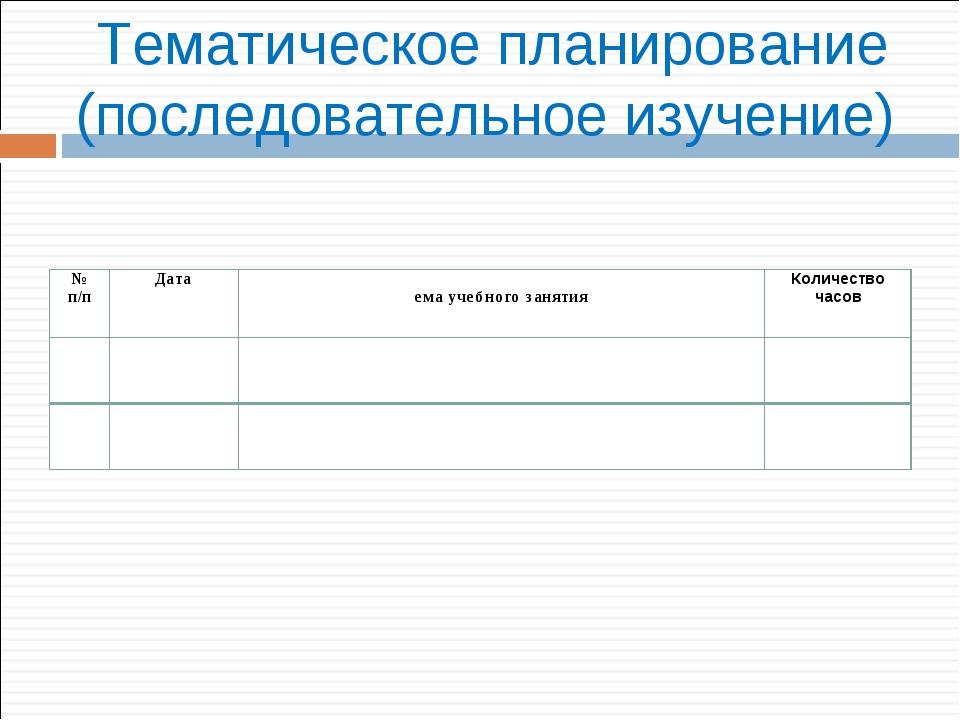 Тематическое планирование (последовательное изучение) № п/пДатаТема учебног...