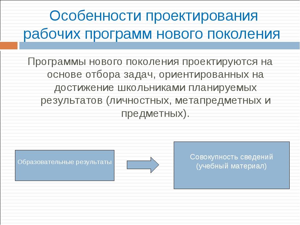 Особенности проектирования рабочих программ нового поколения Программы нового...