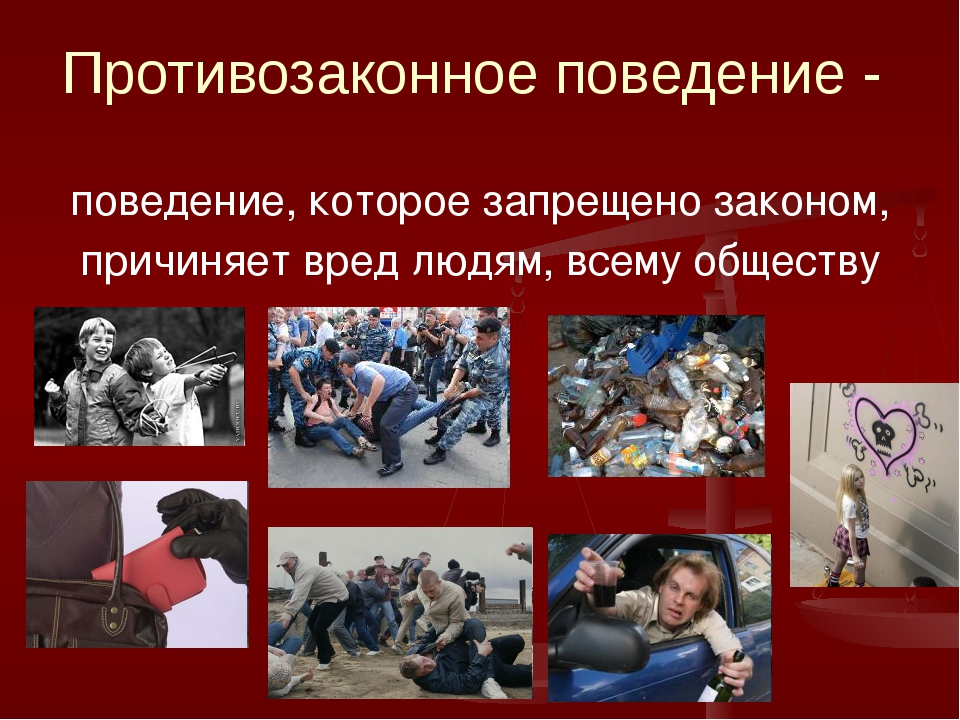 Противозаконное поведение - поведение, которое запрещено законом, причиняет в...