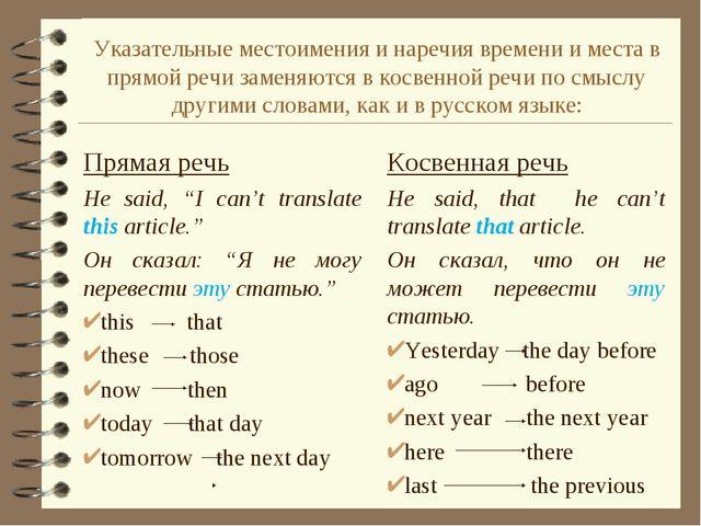 "Прямая речь He said, ""I can't translate this article."" Он сказал: ""Я не могу..."