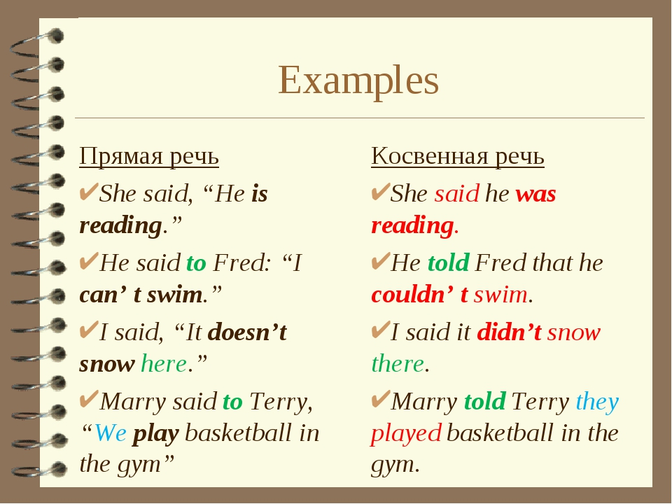 "Examples Прямая речь She said, ""He is reading."" He said to Fred: ""I can' t sw..."